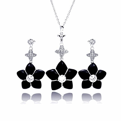 Sterling Silver CZ Black Simulated Onyx Star Dangling Stud Earring & Necklace Set 16
