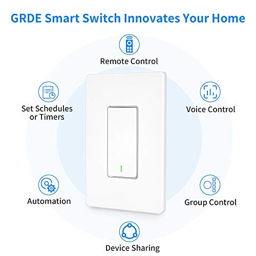 Smart Switch [3 Pack] GRDE WiFi Smart Light Switch Works with Alexa and Google Assistant, Remote Control, Easy In-Wall…