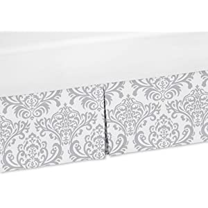 Sweet Jojo Designs Gray and White Damask Crib Bed Skirt Dust Ruffle for Elizabeth, Skylar, and Avery Collection Bedding Sets