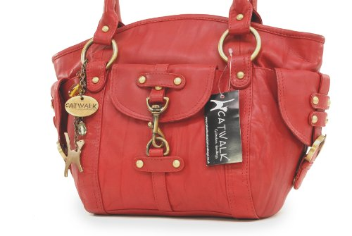 de Cuero Bolso KARLIE Rojo CATWALK COLLECTION mano xtgOOSw