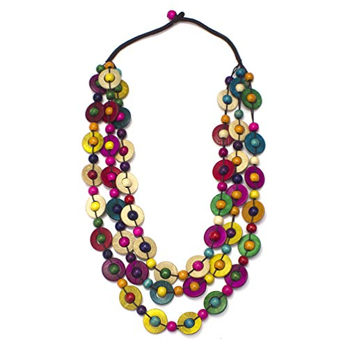 Multi Color Beads Necklace (MANILAI Bohemian Coconut Shell Wood Bead Necklaces Women Ethnic Jewelry Handmade Beaded Long Necklace)