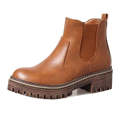 Brown Bootie KemeKiss Women Platform Fashion Yellow 67cXwqxf