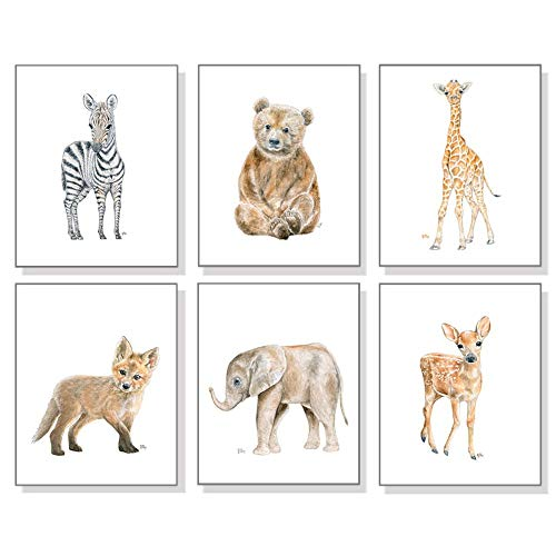 Baby Animal Nursery Prints Set of 6; Pick Your Animals, Print Size and Orientation; Original Watercolor Art Prints Signed By The Artist ()