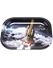 """King Palm Metal Rolling Tray - 7"""" x 5.5"""" - Small Rolling Tray - Smoke Accessories (Lift Off, 7 x 5.5 Inch)"""