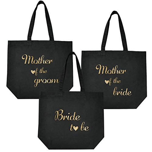 Gold Toile groom Femmes Mariage Set Demoiselle bride Noire Mother To Bag Bag Mariée The Bride D'honneur Maid De Honor Of Be Tote Elegantpark Coton Fête 100 Script Nuit O6WHpqZxww