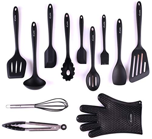 Utensils Set, 12-Piece Complete Silicone Baking & Cooking Kitchen Tools Set, Cookware Set, Kitchen Gadgets - Black - Utensilios de Cocinas