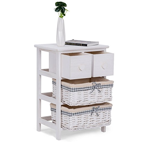 Nightstand Bedside End Table Organizer 2 Wicker Baskets Chest Cabinet With Ebook (Wicker Storage Unit Drawer 6)