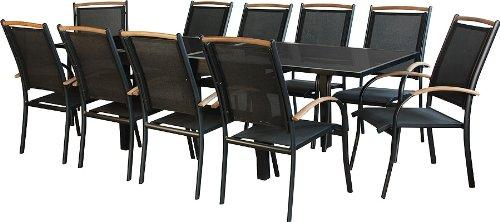 IB-Style - DIPLOMAT Gartengarnitur   2 Kombinationen - 2 Farben   Alu SCHWARZ + TEAKHOLZ + Textilen SCHWARZ   Ausziehtisch 135-270 cm   2 Farben   Gartenmöbel   Gartenset   Lounge  10x Stapelstuhl + Tisch