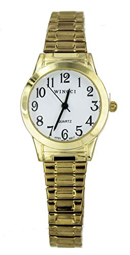 Women Gold Tone Stretch Band Easy to Read Watch ()