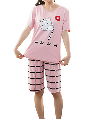 YUEXIN Big Girls Lovely Sleepy Cats Cartoon Loungewear Summer Pajamas Nightwear