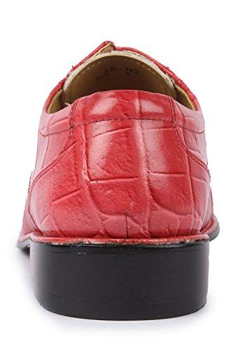 Liberty Mens Exotic Crocodile Print Oxford PU Leather Stitched Dress Shoes Coral EtnlA