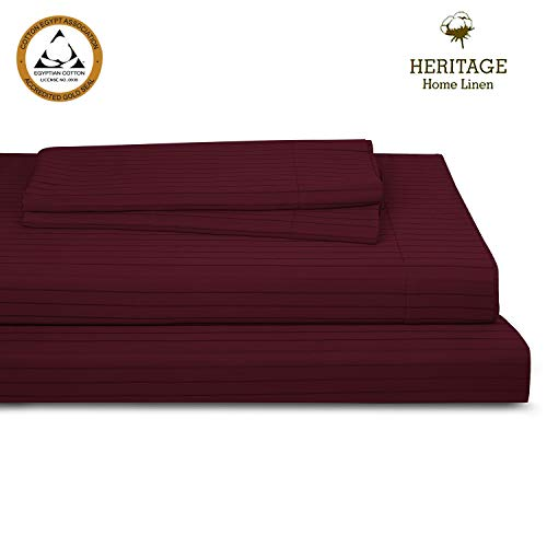 """Heritage Home Linen Bed Queen Sheet Set Egyptian Cotton Blend 800 Thread Count Pinstripes Sateen Weave Deep Pockets Upto 18"""" fit Fade & Stain Resistant 4 Piece (Queen, Burgundy) ()"""