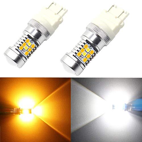 Partsam 2PCS 3157 Switchback LED Bulbs 4057 3156 P27W Dual Color Amber White Front Turn Signal Light High Power LED Light
