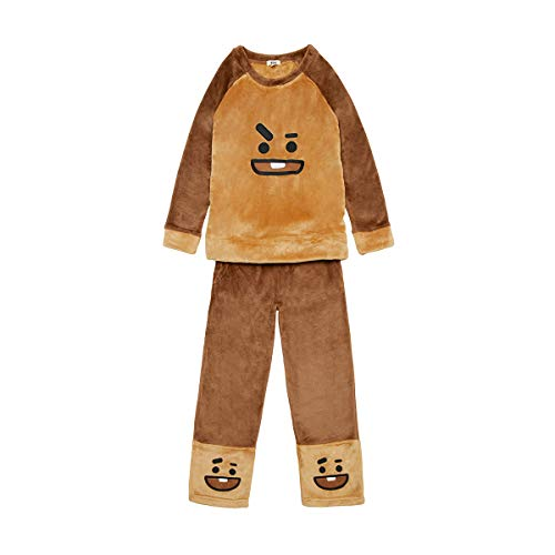 LINE FRIENDS BT21 Official Merchandise SHOOKY Character Pajama Sleep Lounge Wear Set, Small, - Lounge Brown Set