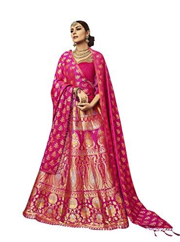 Threads of india Lehenga for partywear choli bollywood lehenga choli Gorgeous Fuchsia Pink Colored Banarasi Silk Lehnega