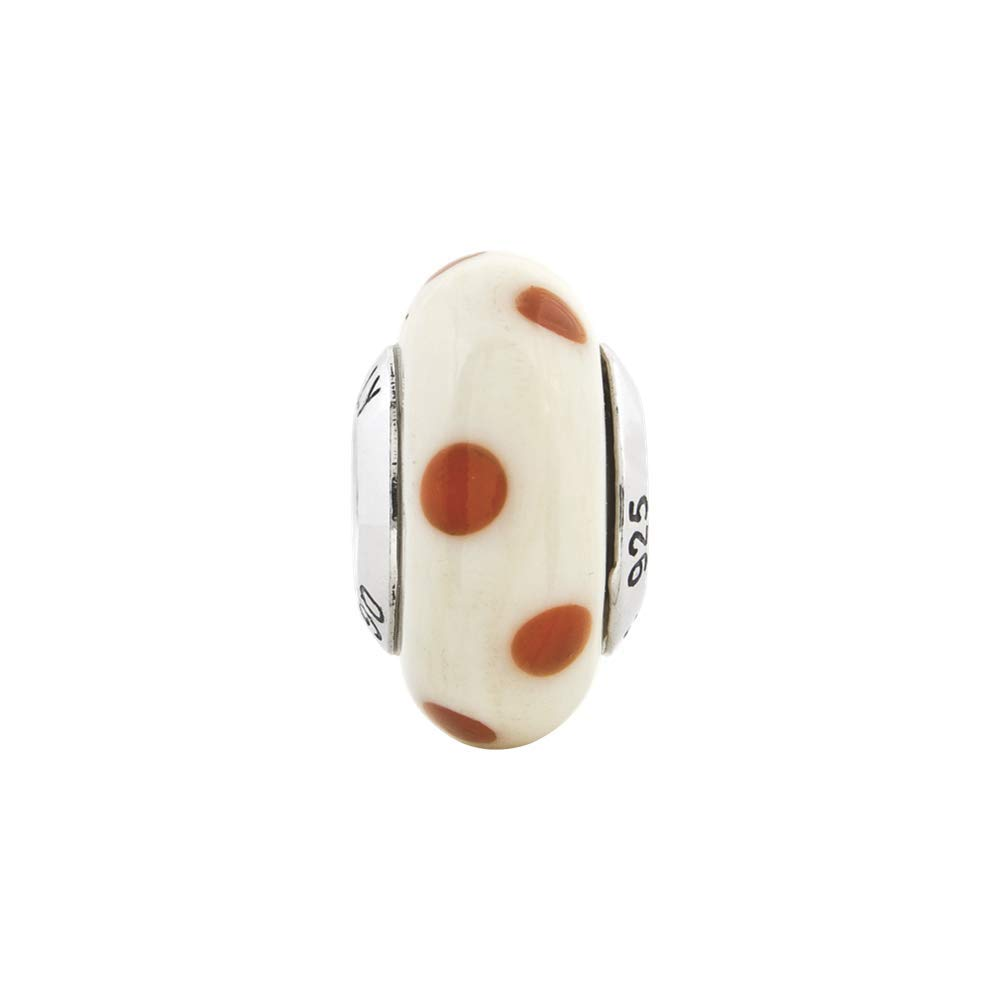 Sterling Silver Reflection Cream with Red Dots Italian Murano Bead