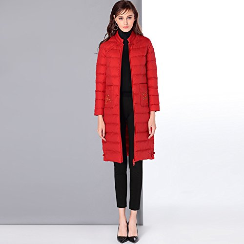 Solid Warm Pocket Color Collar Down Coat Red Jacket Zipper L DYF Embroidery qSRH7xFw6R