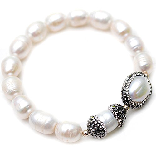 Flourishbeads Cultured White Fresh Water Pearl Rice Beads Stretch Charm Bracelet Fashion Woman (White Rice Freshwater Pearl Beads)