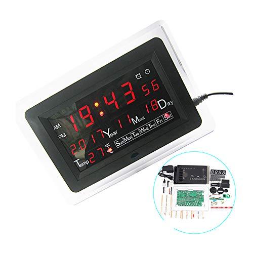 ECL-1227 0.5 inch Red Green Blue DIY Electronic Clock DIY Kit Calendar Temperature English Panel Display DIY Electronic Clock,Red