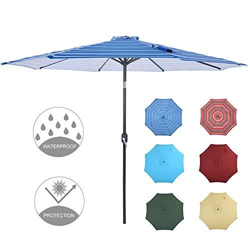 Patio Watcher 9 Feet Patio Umbrella Outdoor Umbrella with Push Button Tilt and Crank for Market, Backyard, Pool, Garden, Deck, 8 Ribs, Blue Stripes