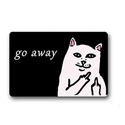 "23.6""(l) X 15.7""(w),3/16"" Thickness,White Cat with Middle Finger Humorous Funny Saying & Quotes:go Away Entrance Indoor/outdoor Floor Mat Doormat"