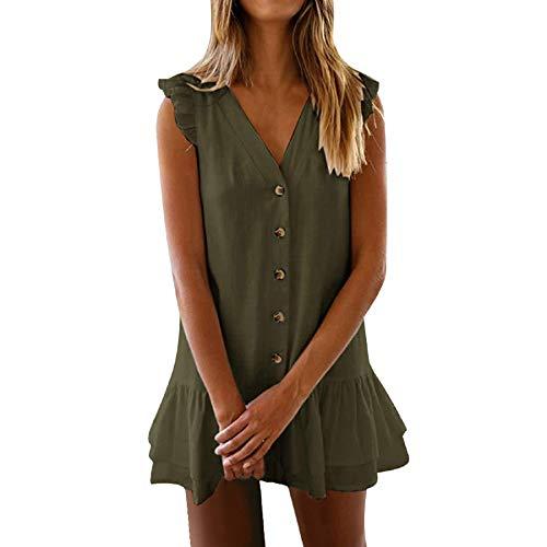Women's Summer Sleeveless Button Up Dress Casual Flounce Pleated Mini Dress V Neck Ruffle Ruched Sundress Army ()