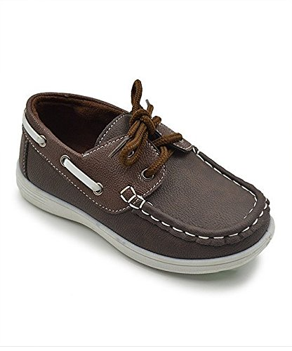Shoe Flat Brown Sport (coXist Boy's Suede PU Boat Shoe (Big Kid/Little Kid/Toddler) in Brown Size: 13 Little Kid M)