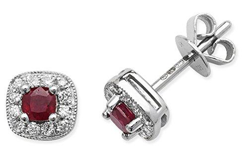Rubis et Diamant 0.15ct Boucles d'oreilles clous Coussin 0,40ct Or Blanc 9ct