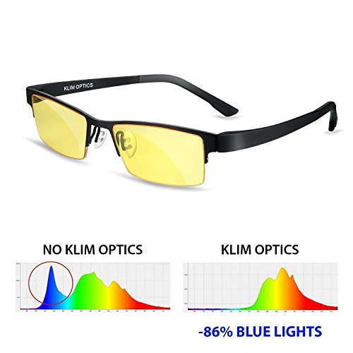 KLIM Optics Glasses to Block Blue Light NEW - High protection for screen - Gaming Glasses PC Mobile TV - Anti Eye Fatigue Anti UV Anti Blue Light - Filters - Monitor Glasses For