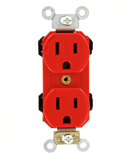 Leviton M5262-SR Lev-Lok Modular Wiring Device 15-Amp, 125 Volt, Narrow Body Duplex Receptacle, Straight Blade, Fed Commercial Grade, Self Grounding, Red by Leviton (Image #1)