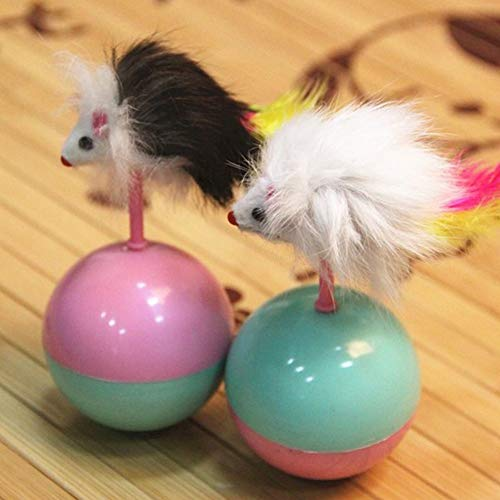 Best Quality pet Funny Mouse Tumbler Toys Mimi Favorite Gifts Durable Cats Dogs Playing Fur Mouse Tumbler Plastic Toys Balls -