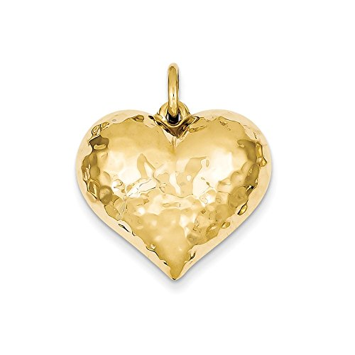 Puffed Hammered Heart Charm (14k Yellow Gold Hollow Polished Hammered Medium Puffed Heart Charm)