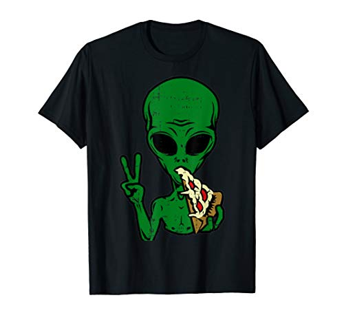 Alien Pizza Eating Peace Funny Space Martian Halloween