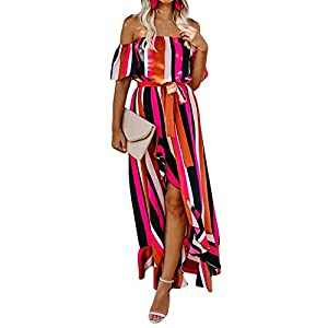 XFASY Summer Colorful Striped Dress Off Shoulder Backless Dresses Sexy Slim Bohemian Beach Striped Sundress for Women from XFASY