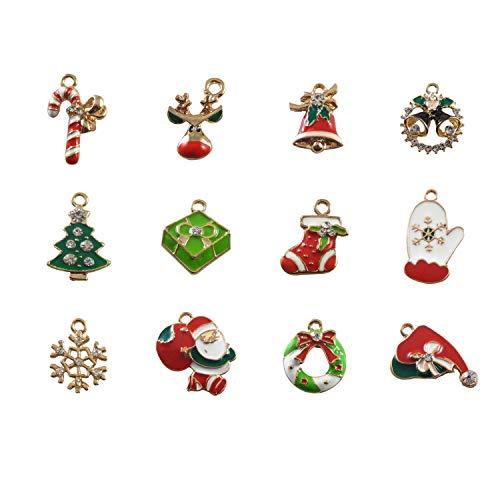 60pcs Mixed Christmas Enamel Charm Rhinestone Assorted Coloful Holiday Favor Santa Jingle Bell Gloves Gift Box Snowflake