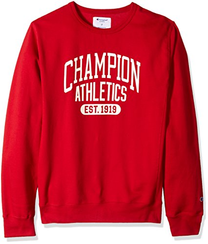 Fleece Screen Print Sweatshirt - Champion Men's Big and Tall Fleece Ls Crew with Screen Print, red, 4X