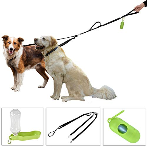 IMPRIE Double Dog Leash Bundle - No Tangle Dual Dog Leash for Medium to Large Two Dogs with Reflective Stitching for Night Safety + 17oz Portable Dog Water Bottle for Walking + Dog Waste Bag Dispenser