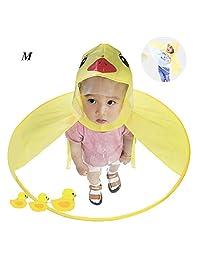 Duck Umbrella - Aolvo UFO Raincoat Cute Cartoon Duck Raincoat for Kids Foldable Toddler Rain Jacket Hands Free Poncho Waterproof Cloak with Hood for Baby Boys and Girls, Medium Size (Yellow Duck)