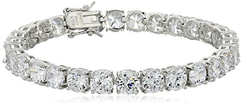 Amazon Essentials Sterling Silver Round Cut Cubic Zirconia Tennis Bracelet (6mm), 7.25""