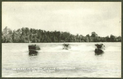 Amazon Com Speedboat Fleet Lake Compounce Bristol Ct Postcard 1940s