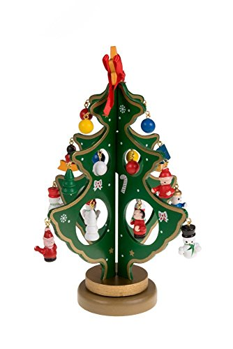 OWIKAR Tabletop Christmas Tree Ornaments, DIY Cartoon Wooden Miniature Holiday Figurines Desktop Decoration Arts and Crafts Gift for Festive Holiday Decoration (Green, S) (Homemade Greek Costumes For Boys)