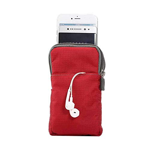Bag Bag Layer Pouch Clip Phone Case Red Belt Amazingdeal Canvas Multi Sports Wallet Zipper 6BwxqZg87E