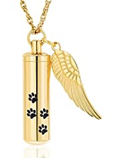 Pet Cremation Jewelry Urn Necklaces for Ashes,Paw Print Cylinder Urn Keepsake Memorial Ashes Necklace Pendants for Pet Dog Cat