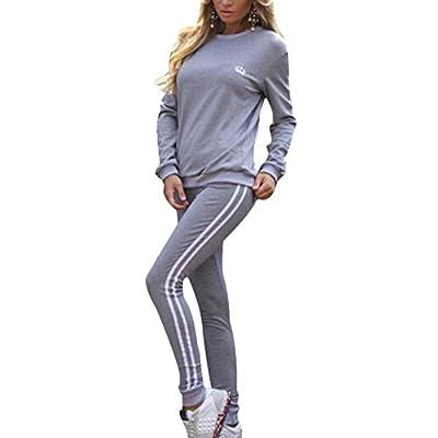 Verypoppa Women's Stripe-Side Sweatshirt Sweatpants Jogger Suit Tracksuit
