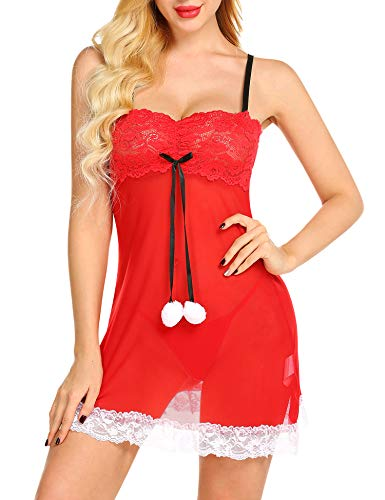 Gladiolus Women Christmas Lingerie Lace Patched Red Santa Babydoll Sexy Dress -