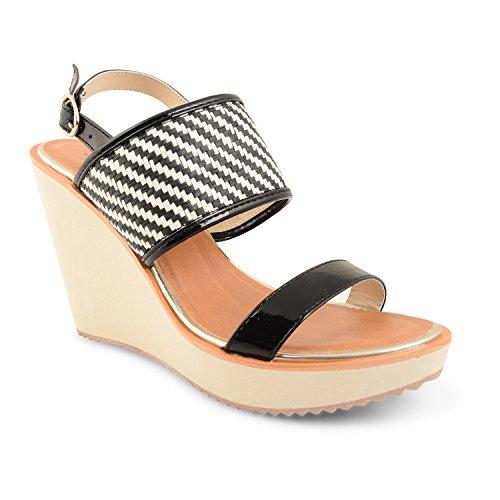Y pedrería para mujer Dolcis para mujer diseño de Kirsten Miller cobalto en el talón de alta zapatos de cuña plataforma de negro - negro