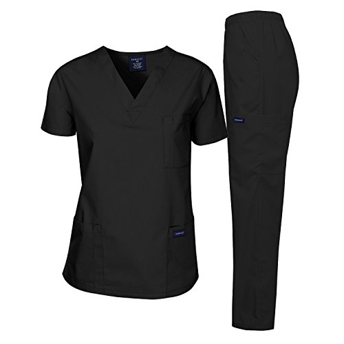 Dagacci Medical Uniform Woman and Man Scrub Set Unisex Medical Scrub Top and Pant, BLACK, XS 1x1 Rib V-neck Top