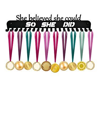 ULwysd Medal Holder, Medals Display Hanger Rack for Over 40 Medals - Coated Pure Steel Wall Mount Easy to Install Race Runner Medal Frame (Black) (Medal Hanger Cheer)