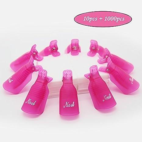 Jiulory - Clips para quitar esmaltes de uñas, 10 paquetes con toallitas para uñas, 1000 unidades, color rojo: Amazon.es: Belleza