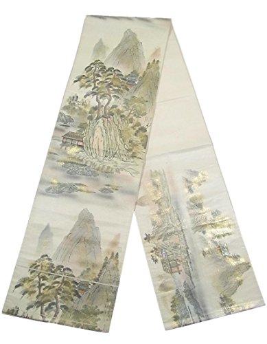 アノイ決してそれからリサイクル 袋帯 風景文 山水図 正絹 六通